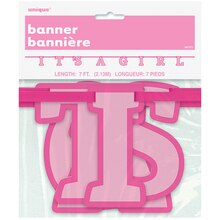It's A Girl Baby Shower Banner, 7 Ft Packaged