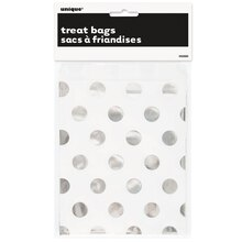 Foil Silver Polka Dot Paper Cookie Bags, 8ct