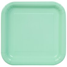 "7"" Square Mint Party Plates, 16ct"