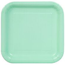 "9"" Square Mint Party Plates, 14ct"