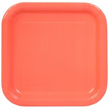 "7"" Square Coral Party Plates, 16ct"