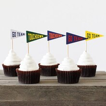 Football Pennant Cupcake Flags, medium