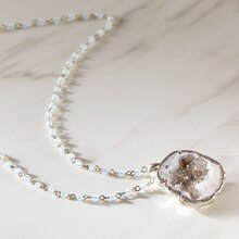 White Geode Necklace, medium