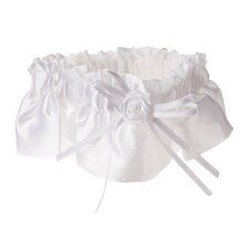 Victoria Lynn Satin Garter with Rose & Ribbon Embellishment, White