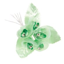 Sheer and Satin Rose Bunch with Rhinestone Centers, Lime