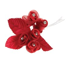 Victoria Lynn Sheer & Satin Wired Rosebud Bunches, Red