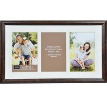"Simply Essentials 4"" x 6"" Walnut 3-Opening Matted Frame By Studio Decor"