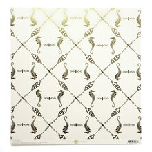 Anna Griffin Seafarer Collection Seahorse Cardstock, Ivory with Gold Foil Accents