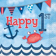 Nautical 1st Birthday Beverage Napkins, 16ct