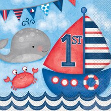 Nautical 1st Birthday Luncheon Napkins, 16ct
