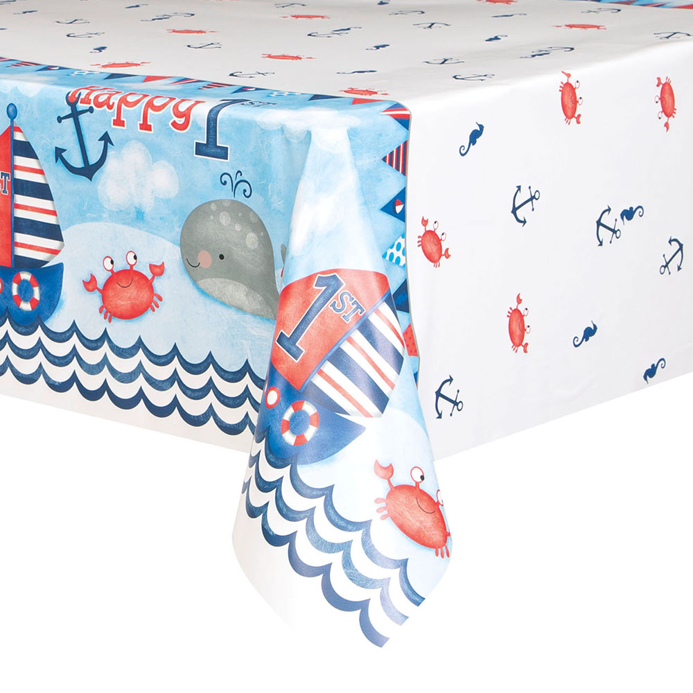 Plastic Nautical 1st Birthday Tablecloth Plastic Nautical 1st Birthday  Tablecloth In Use