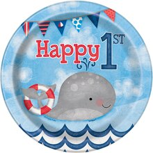 "7"" Nautical 1st Birthday Party Plates, 8ct"