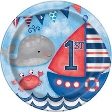 "9"" Nautical 1st Birthday Party Plates, 8ct"