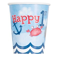 9oz Nautical 1st Birthday Paper Cups, 8ct