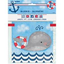 One Nautical 1st Birthday Banner, 4 Ft Packaged
