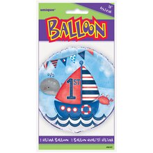 "Foil Nautical 1st Birthday Balloon, 18"" Packaged"