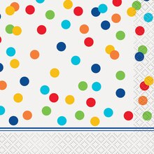 Rainbow Dot Confetti Beverage Napkins, 16ct