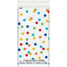 Plastic Rainbow Dot Confetti Tablecloth