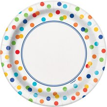 "7"" Rainbow Dot Confetti Party Plates, 8ct"