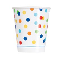 9oz Rainbow Dot Confetti Paper Cups, 8ct