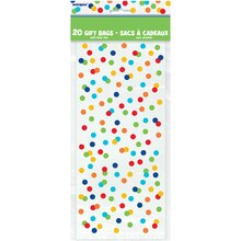 Rainbow Dot Confetti Cellophane Bags, 20ct