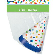 Rainbow Dot Confetti Party Hats, 8ct