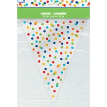 Rainbow Dot Confetti Pennant Banner, 12 Ft.