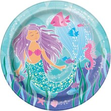 "9"" Mermaid Party Plates, 8ct"