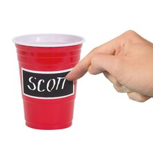 18oz Scratch Off Label Red Plastic Cups, 14ct