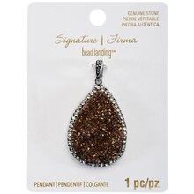 Signature Color Shop Brown Druzy Teardrop Pendant By Bead Landing