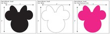 Disney Minnie Small Ears Adhesive Felt Pack of 6 Measurements