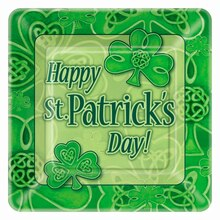 "9"" Square Clover St. Patrick's Day Party Plates, 8ct"