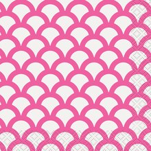 Hot Pink Scallop Print Beverage Napkins, 16ct