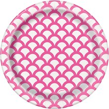"""7"""" Hot Pink Scallop Print Party Plates, 8ct"""