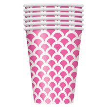 12oz Hot Pink Scallop Print Paper Cups, 6ct