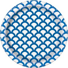 "7"" Royal Blue Scallop Print Party Plates, 8ct"