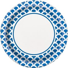 "9"" Royal Blue Scallop Print Party Plates, 8ct"