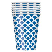 12oz Royal Blue Scallop Print Paper Cups, 6ct