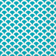 Teal Scallop Print Luncheon Napkins, 16ct