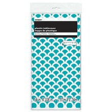 Plastic Teal Scallop Print Tablecloth