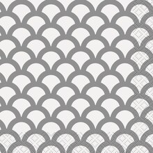 Silver Scallop Print Beverage Napkins, 16ct