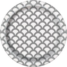 "7"" Silver Scallop Print Party Plates, 8ct"