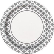 "9"" Silver Scallop Print Party Plates, 8ct"