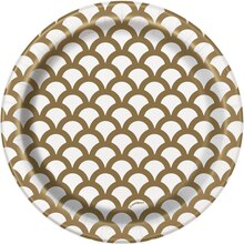 """7"""" Gold Scallop Print Party Plates, 8ct"""