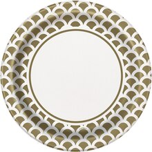 "9"" Gold Scallop Print Party Plates, 8ct"