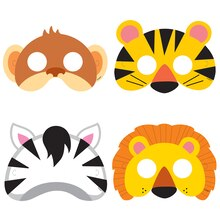 Animal Safari Party Masks, 8ct