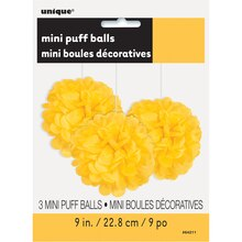 "9"" Yellow Tissue Paper Pom Poms, 3ct Package"