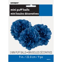 "9"" Royal Blue Tissue Paper Pom Poms, 3ct Package"