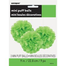 "9"" Lime Green Tissue Paper Pom Poms, 3ct Package"