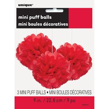 "9"" Red Tissue Paper Pom Poms, 3ct Package"
